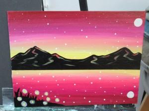 今日は絵画とチアリーディング体験です。この見本の絵を参考に、それぞれが描いていきます。